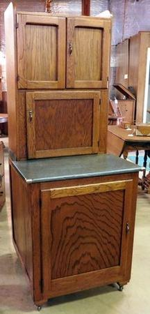 Rare small size original 27  Hoosier cabinet with lift lid zinc top (storage under top). Pull out pots and pans shelf in the bottom as well as a pull out ... & Smithu0027s Antiques - #D406 Rare Size! 27