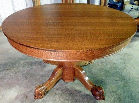 Round Tiger Oak Table W Claw Feet