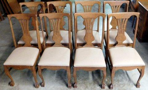 Astounding Smiths Antiques D612 Set Of 8 Oak Claw Foot Chairs Short Links Chair Design For Home Short Linksinfo