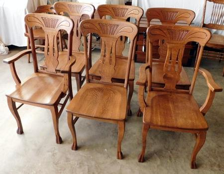 Astonishing Smiths Antiques D367 Set Of 6 Tiger Oak Chairs 2 Arm Cjindustries Chair Design For Home Cjindustriesco